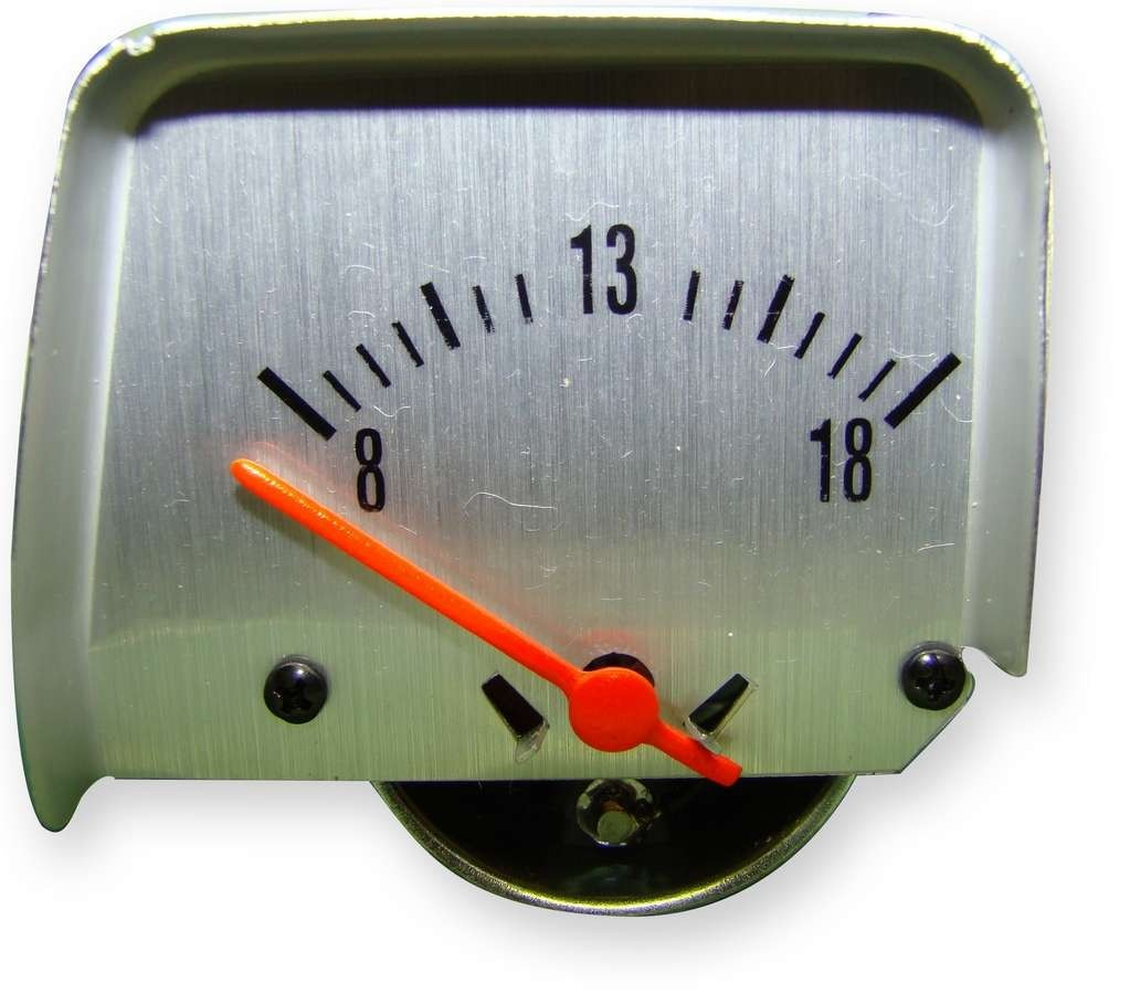 American Autowire 510121 Voltmeter, Ammeter Replacement, 8-18V, Electric, Analog, Short Sweep, Saw Tooth Console, GM F-Body 1968-69, Each