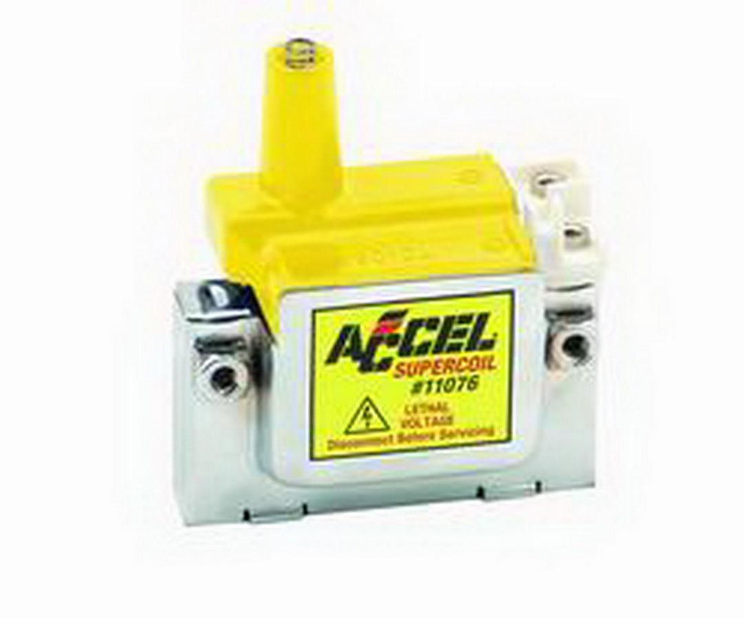 Accel 11076 Ignition Coil, Super Coil, U-Core, 0.200 ohm, Female Socket, Chrome / Yellow, Honda, Each