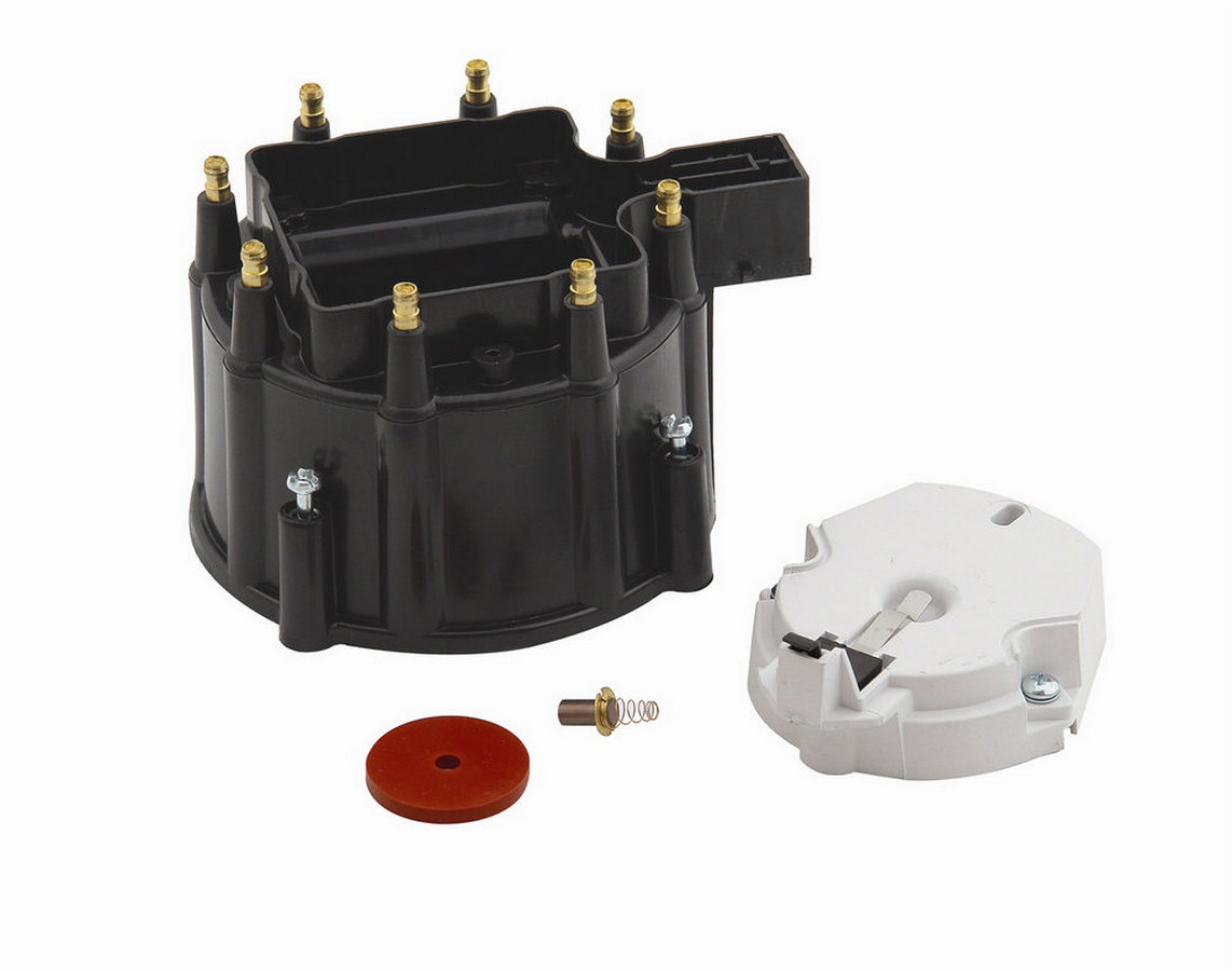 Accel 8123 Cap and Rotor Kit, HEI Style Terminal, Brass Terminals, Clamp Down, Black, Non-Vented, Coil in Cap, Chevy V8, Kit