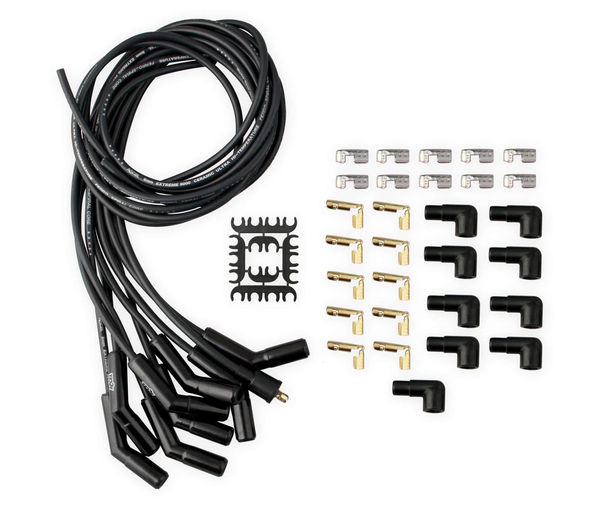 Accel 9002CK Spark Plug Wire Set, Extreme 9000 Ceramic, Spiral Core, 8 mm, Black, Factory Style Ceramic Plug Boots, Universal V8, Kit