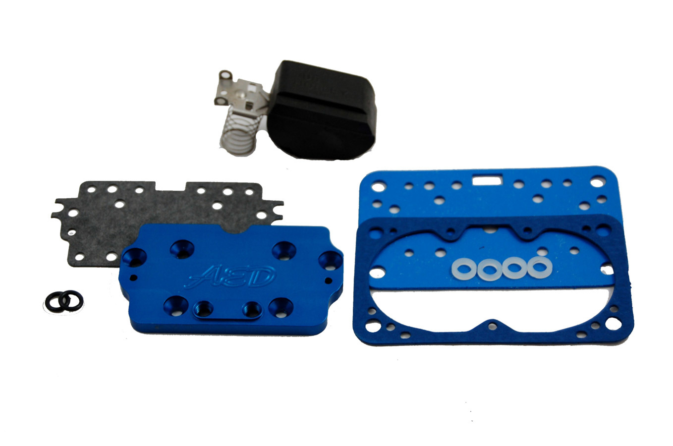 AED Performance 6320 Metering Plate, Conversion to Main Jets, Gasket/Float, Aluminum, Blue Anodize, Holley 4160 Carburetors, Kit