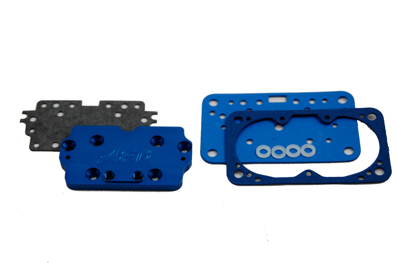 AED Performance 6330 Metering Plate, Conversion to Main Jets, Gaskets, Aluminum, Blue Anodized, Holley 4160 Carburetors, Kit