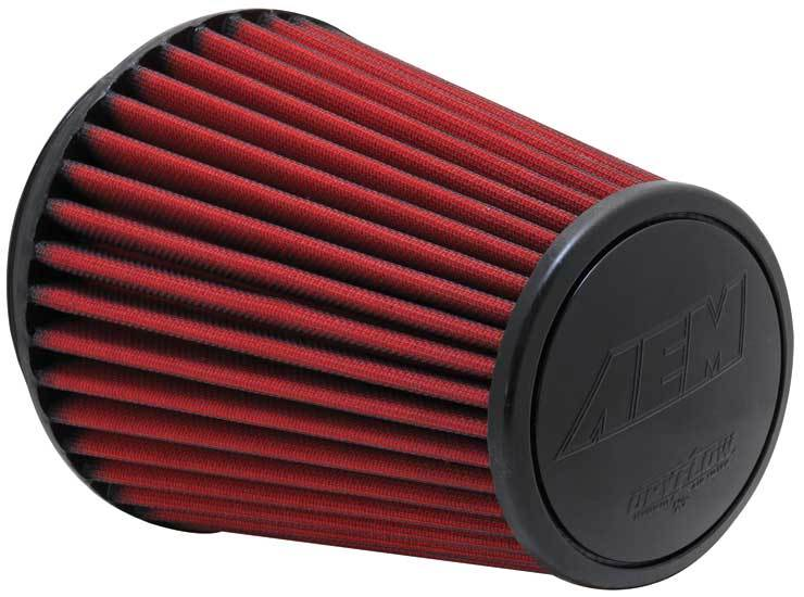 AEM 21-2100DK Air Filter Element, Dryflow, Clamp-On, Conical, 7-1/2 in Base, 5-1/8 in Top Diameter, 8-1/8 in Tall, 6 in Flange, Synthetic, Universal, Each