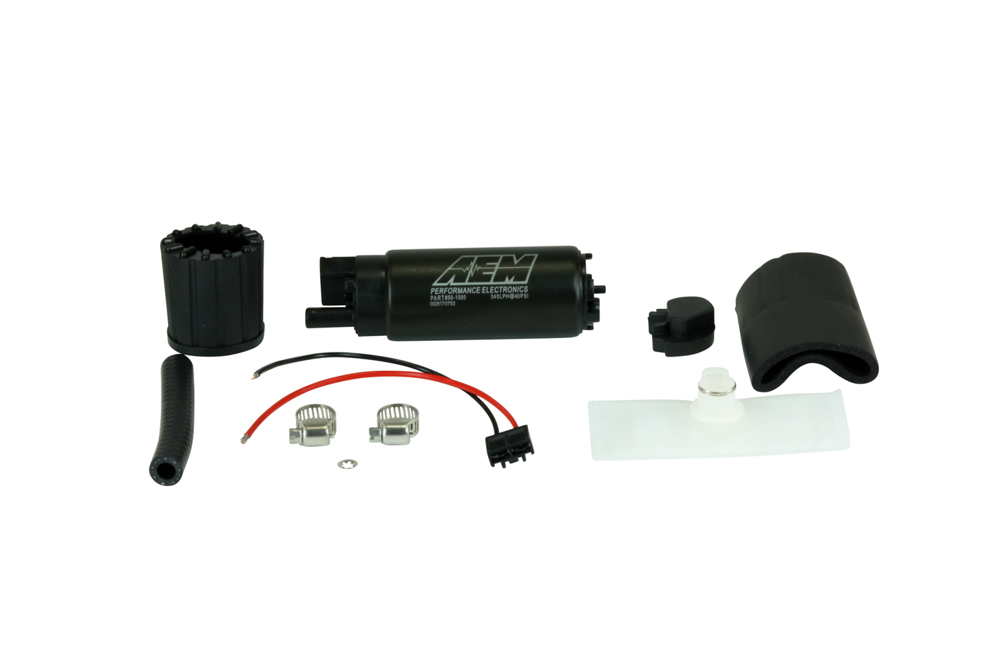 AEM 50-1000 Fuel Pump, High Flow, Electric, In-Tank, 320 lph at 43 psi, Offset Filter Sock Inlet, 8 mm Hose Barb Outlet, Install Kit, Gas, Kit