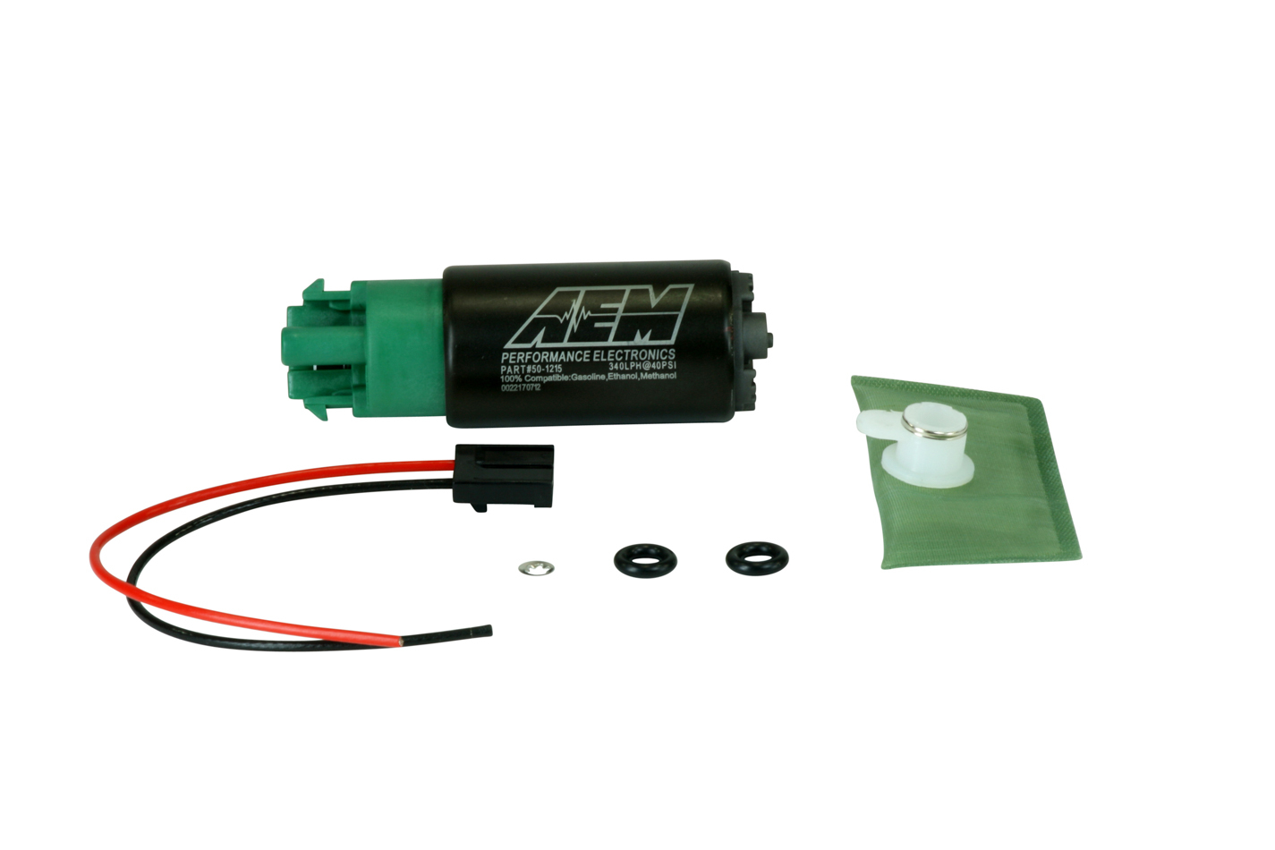 AEM 50-1215 Fuel Pump, High Flow, Electric, In-Tank, 340 lph at 43 psi, 11 mm Hose Barb Inlet, 8 mm Hose Barb Outlet, Install Kit, E85, Kit
