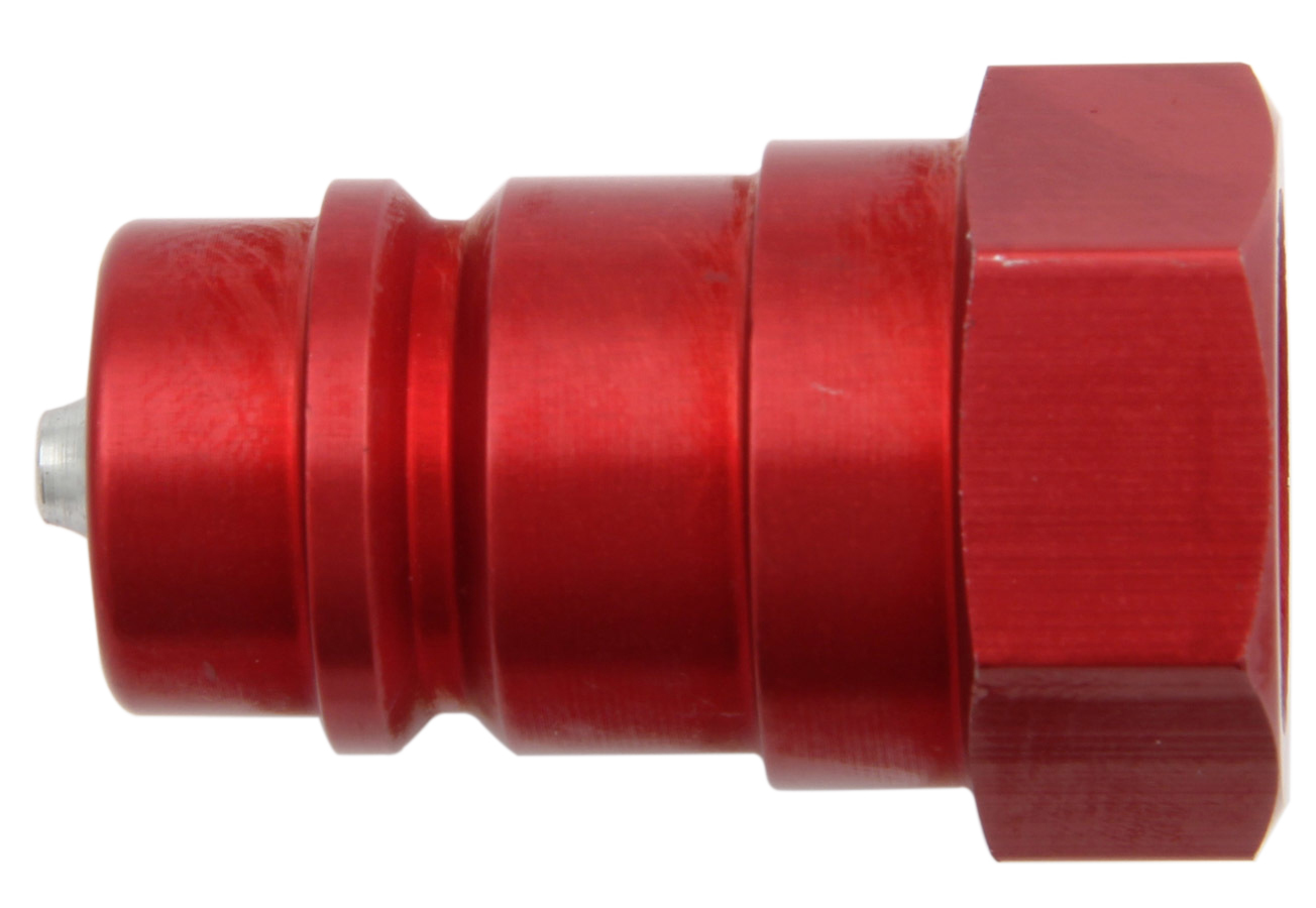 Aeroquip FBM1153 Fitting, Quick Disconnect, Radiator Refill Coupling, Male Half, 1/2 in NPT, Aluminum, Red Anodized, Each