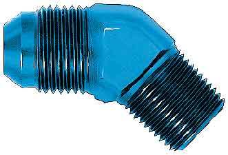 Aeroquip FBM2024 Fitting, Adapter, 45 Degree, 10 AN Male to 1/2 in NPT Male, Aluminum, Blue Anodize, Each