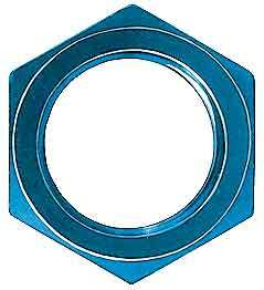 Aeroquip FBM2099 Bulkhead Fitting Nut, 4 AN, Aluminum, Blue Anodize, Pair
