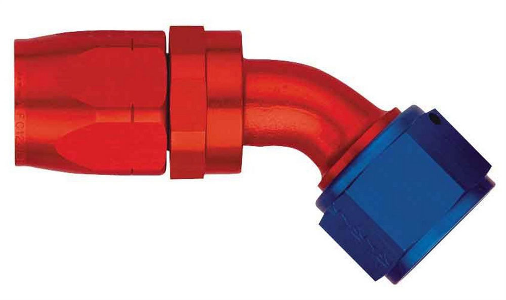 Aeroquip FBM4022 Fitting, Hose End, AQP/Startlite, 45 Degree, 6 AN Hose to 6 AN Female Swivel, Aluminum, Blue / Red Anodized, Each