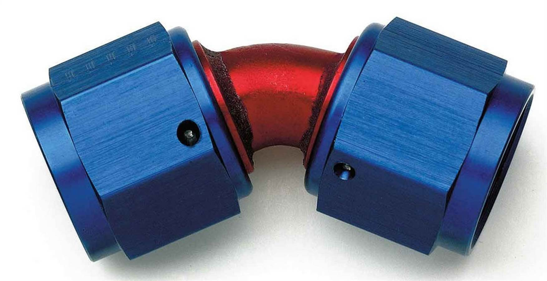 Aeroquip FCM2973 Fitting, Adapter, 45 Degree, 10 AN Female Swivel to 10 AN Female Swivel, Aluminum, Blue / Red Anodized, Each