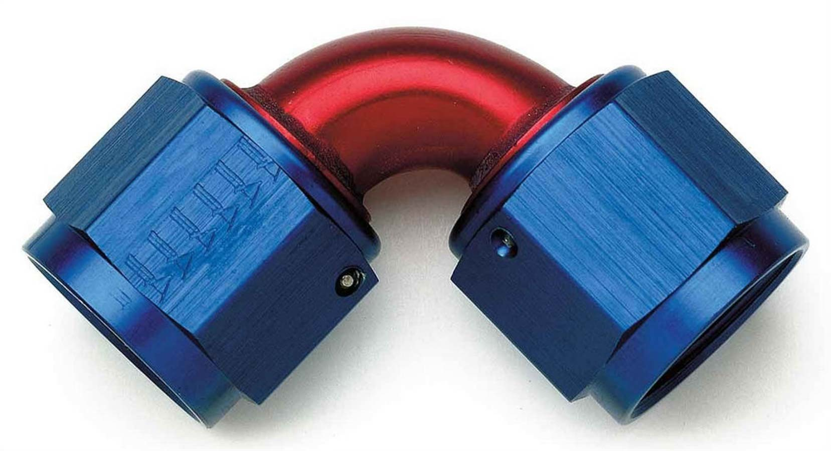 Aeroquip FCM2980 Fitting, Adapter, 90 Degree, 10 AN Female Swivel to 10 AN Female Swivel, Aluminum, Blue / Red Anodized, Each