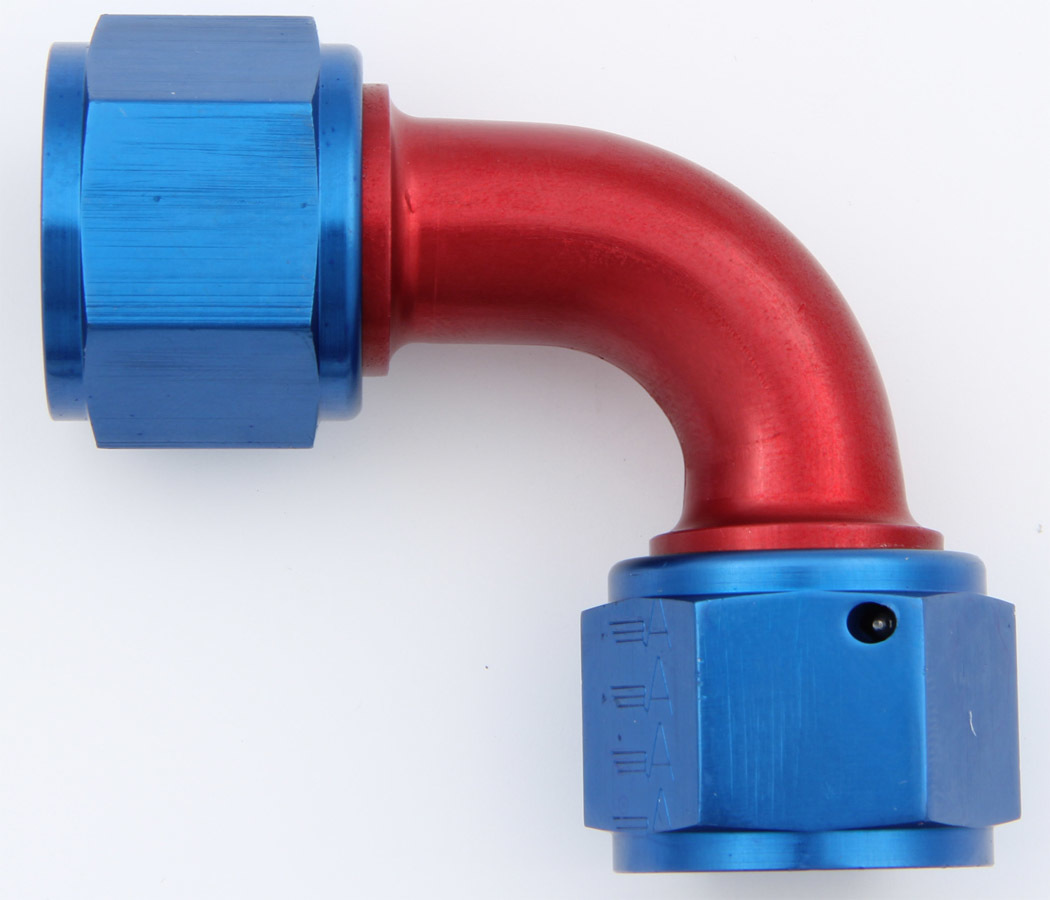 Aeroquip FCM2981 Fitting, Adapter, 90 Degree, 12 AN Female Swivel to 12 AN Female Swivel, Aluminum, Blue / Red Anodize, Each
