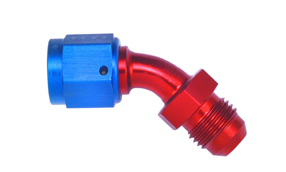 Aeroquip FCM3149 Fitting, Adapter, 45 Degree, 8 AN Female Swivel to 8 AN Male, Aluminum, Blue / Red Anodize, Each