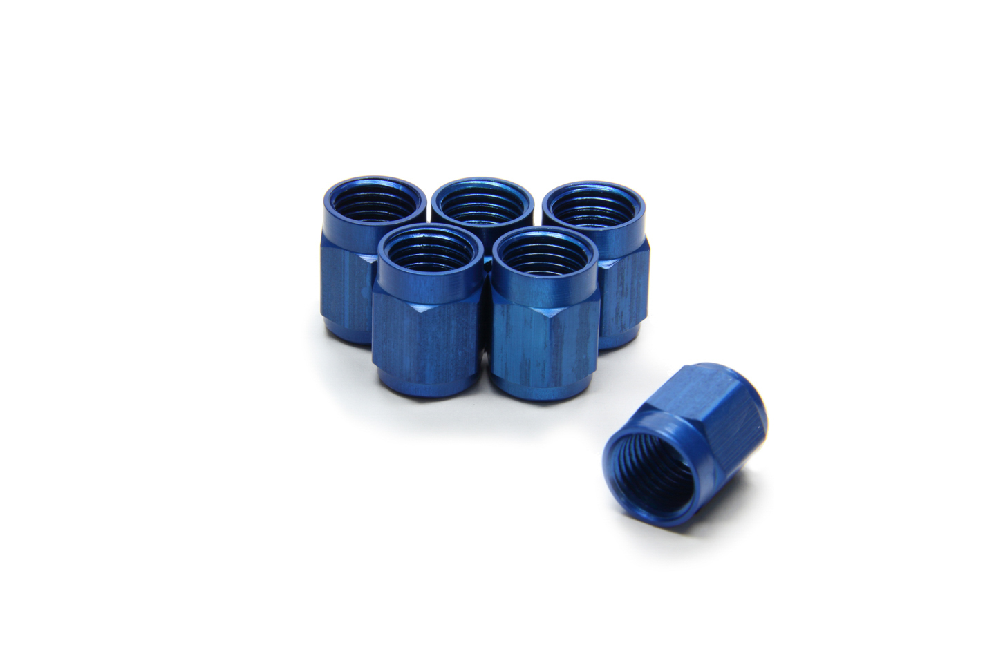 Aeroquip FCM3554 Fitting, Tube Nut, 3 AN, 3/16 in Tube, Aluminum, Blue Anodized, Set of 6
