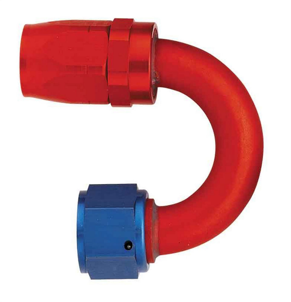 Aeroquip FCM4062 Fitting, Hose End, AQP/Startlite, 180 Degree, 6 AN Hose to 6 AN Female Swivel, Aluminum, Blue / Red Anodize, Each