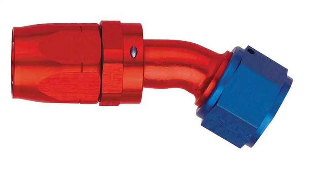 Aeroquip FCM4072 Fitting, Hose End, AQP/Startlite, 30 Degree, 6 AN Hose to 6 AN Female Swivel, Aluminum, Blue / Red Anodized, Each