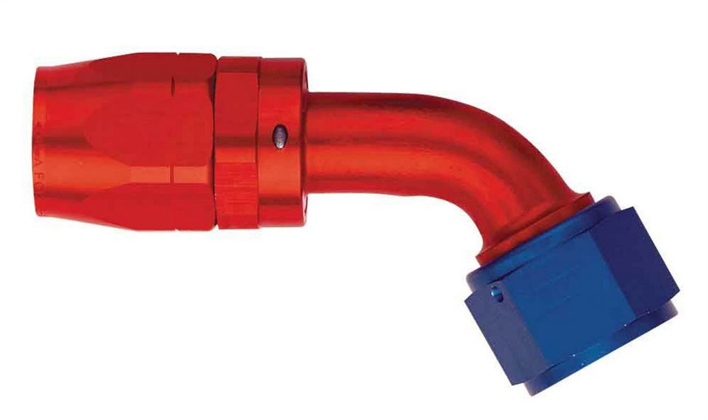 Aeroquip FCM4082 Fitting, Hose End, AQP/Startlite, 60 Degree, 6 AN Hose to 6 AN Female Swivel, Aluminum, Blue / Red Anodized, Each