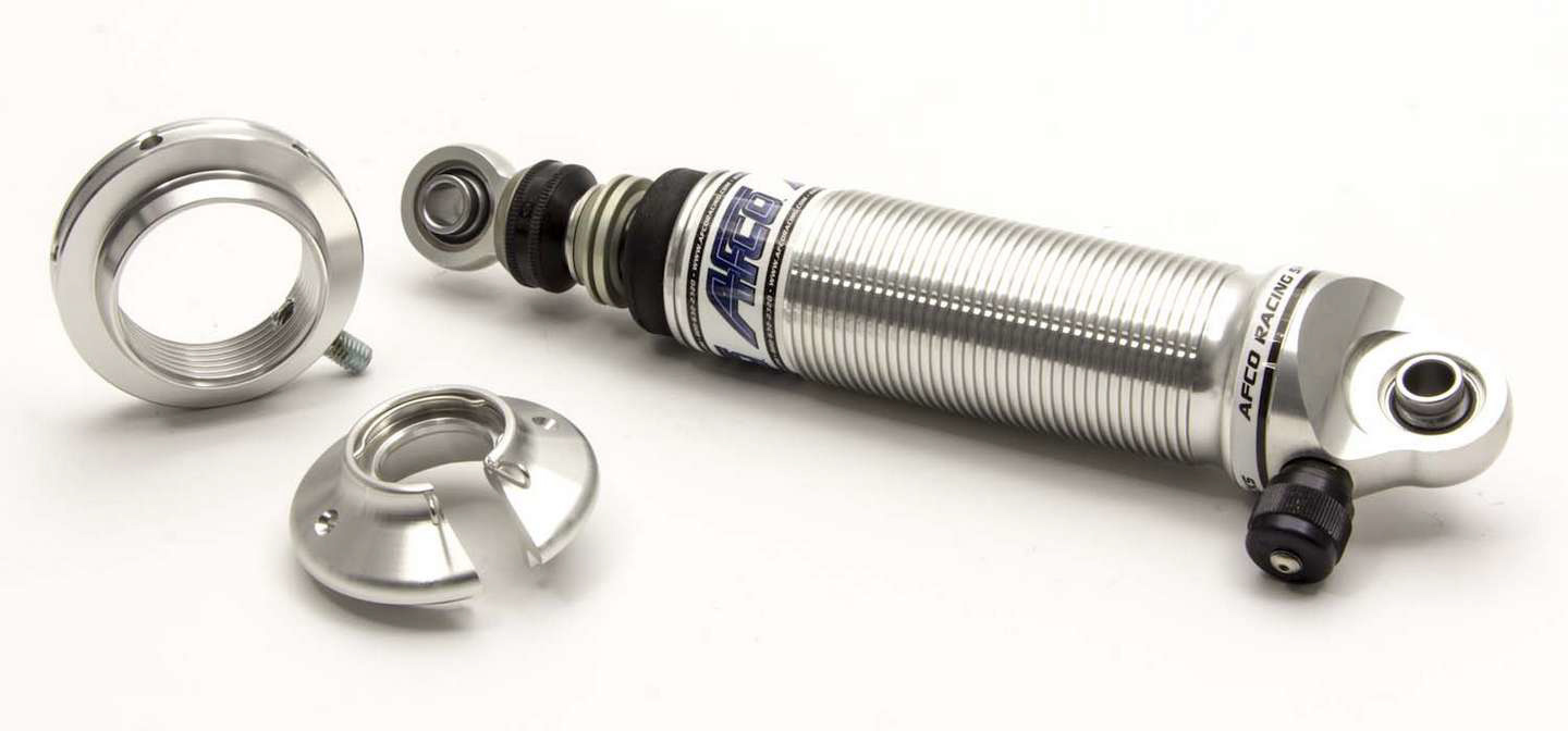 AFCO Racing Products 3840C Shock, Pro Touring Series, Twintube, 11.00 in Compressed / 14.90 in Extended, Double Adjustable, Threaded Aluminum, Natural, Kit