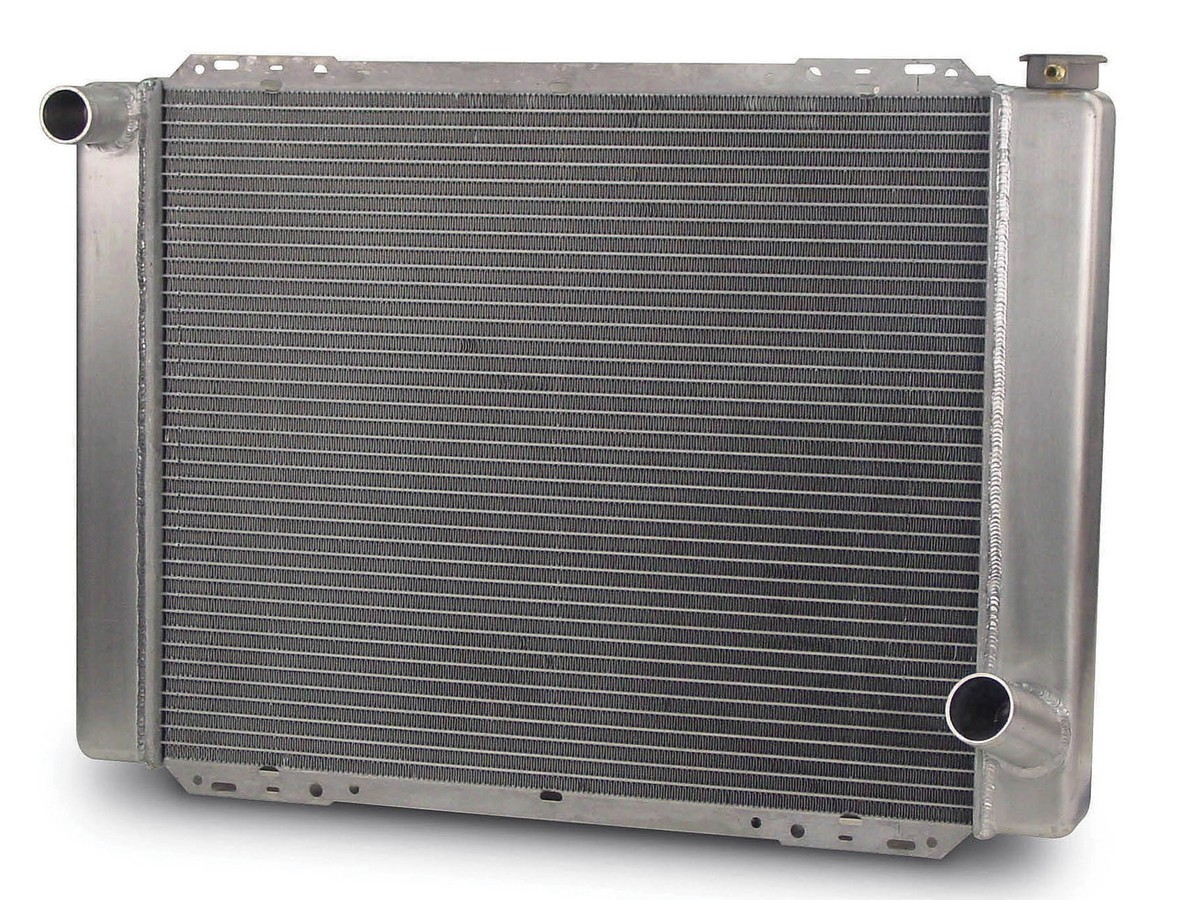 AFCO Racing Products 80101A Radiator, 27-1/2 in W x 20 in H x 3 in D, Driver Side Inlet, Passenger Side Outlet, Aluminum, Natural, Each