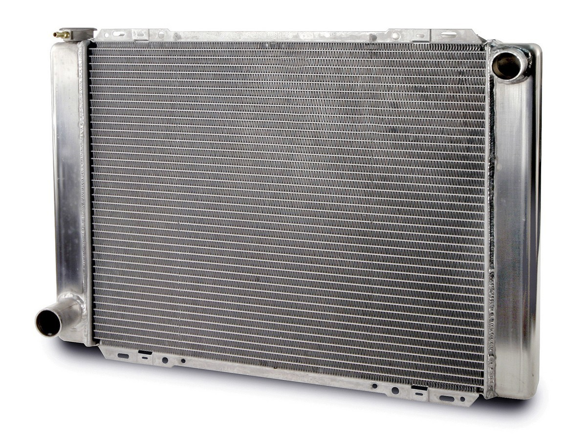 AFCO Racing Products 80101FN Radiator, 27-1/2 in W x 20 in H x 3 in D, Passenger Side Inlet, Driver Side Outlet, Aluminum, Natural, Each