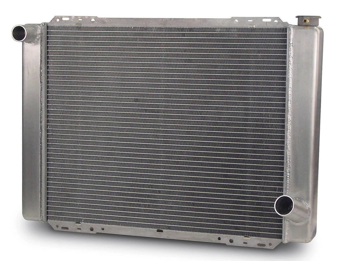 AFCO Racing Products 80101N Radiator, 27-1/2 in W x 20 in H x 3 in D, Driver Side Inlet, Passenger Side Outlet, Aluminum, Natural, Each