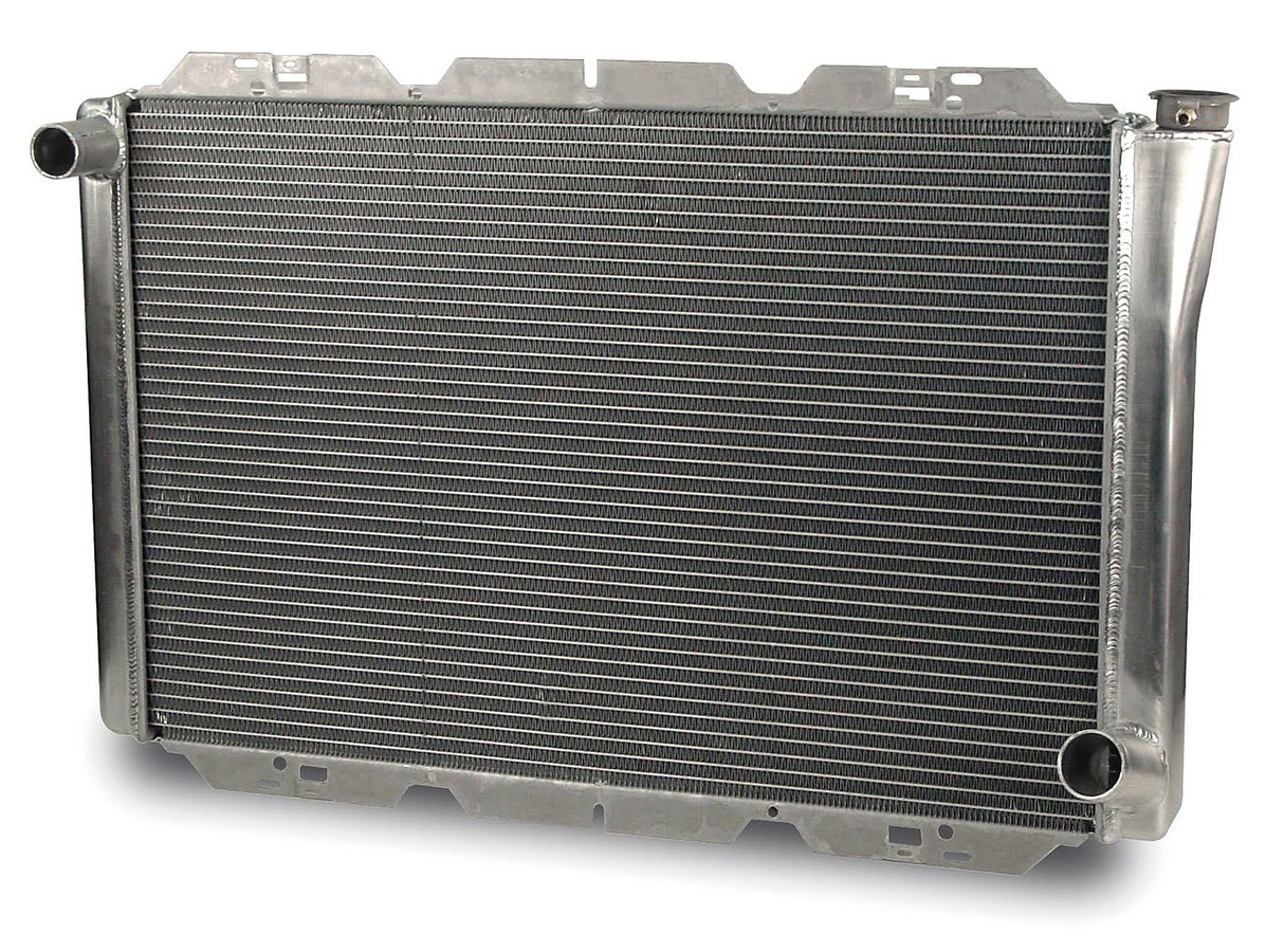 AFCO Racing Products 80102N Radiator, 32 in W x 21 in H x 3 in D, Driver Side Inlet, Passenger Side Outlet, Aluminum, Natural, Each