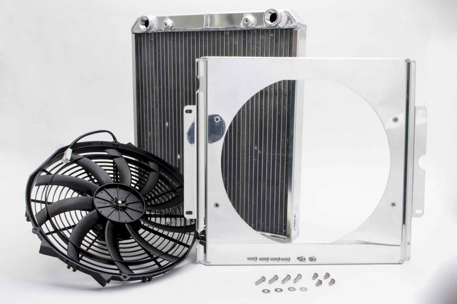 AFCO Racing Products 80108N Radiator, Dragster / Roadster, 17-1/16 in W x 21 in H x 3 in D, Bottom Side Inlet, Bottom Side Outlet, Aluminum, Natural, Kit