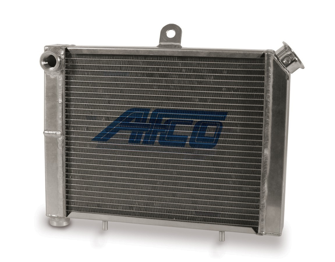 AFCO Racing Products 80205 Radiator, 17 in W x 12-1/8 in H, Dual Pass, Drivers Side Inlet, Drivers Side Outlet, Cage Mount, Aluminum, Satin, Mini / Micro Sprint, Each