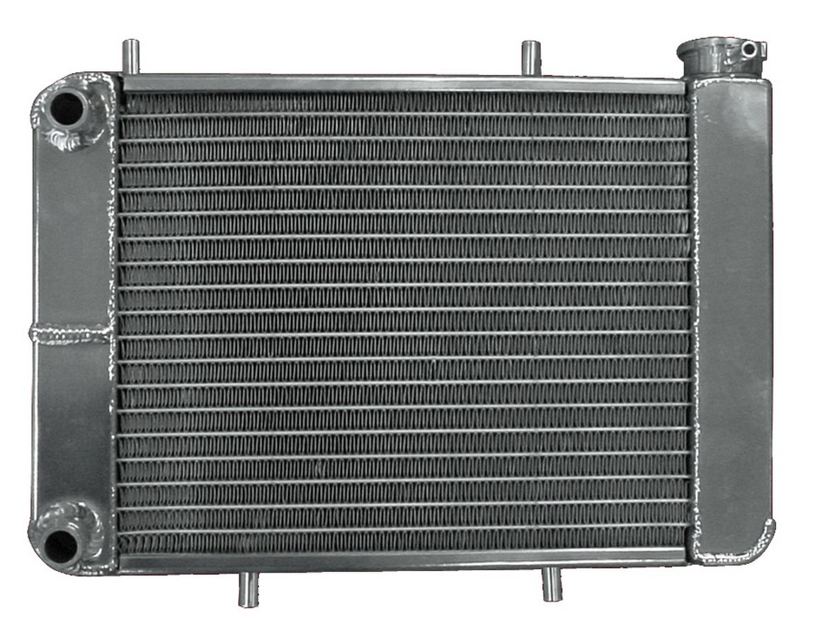 AFCO Racing Products 80260N Radiator, Power Adder, 13-3/4 in W x 9-1/4 in H, Dual Pass, Drivers Side Inlet, Drivers Side Outlet, Aluminum, Natural, Drag Racing, Each