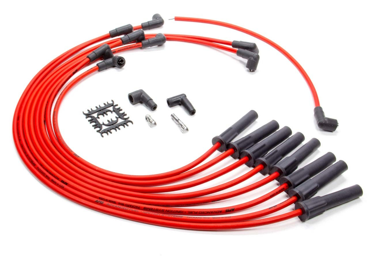 AFIS 850302 Spark Plug Wire Set, Series 50, Spiral Core, 8.5 mm, Red, Straight Plug Boots, Socket Style, Big Block Chevy, Kit