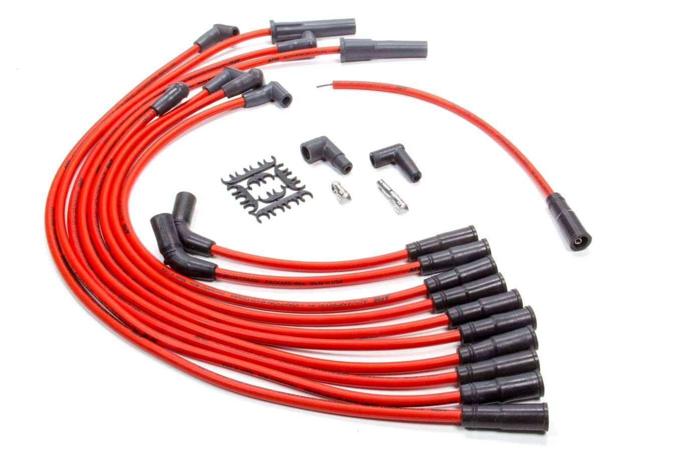 AFIS 850316 Spark Plug Wire Set, Series 50, Spiral Core, 8.5 mm, Red, Straight Plug Boots, HEI Style Terminal, GM LT-Series, Kit