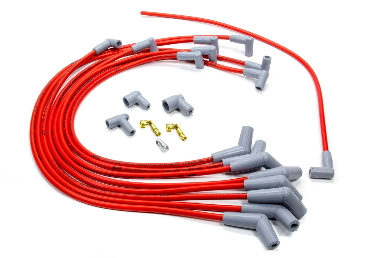 AFIS 850701 Spark Plug Wire Set, Series 50, Spiral Core, 8.5 mm, Red, Straight Plug Boots, HEI Style Terminal, Small Block Ford, Kit