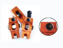 AFR 6036 Rocker Arm, 7/16 in Stud Mount, 1.60 Ratio, 0.050 in Offset, Full Roller, Aluminum, Orange Anodized, Small Block Chevy, Set of 16
