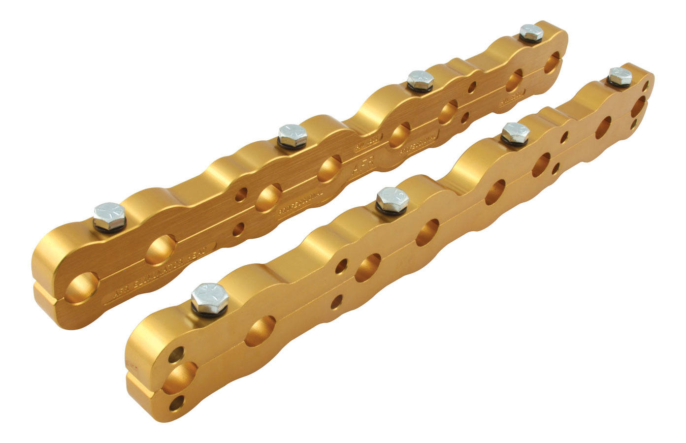 Air Flow Research 6200 Rocker Arm Stud Girdle, Standard, Aluminum, Gold Anodized, AFR Eliminator Heads, Small Block Chevy, Pair