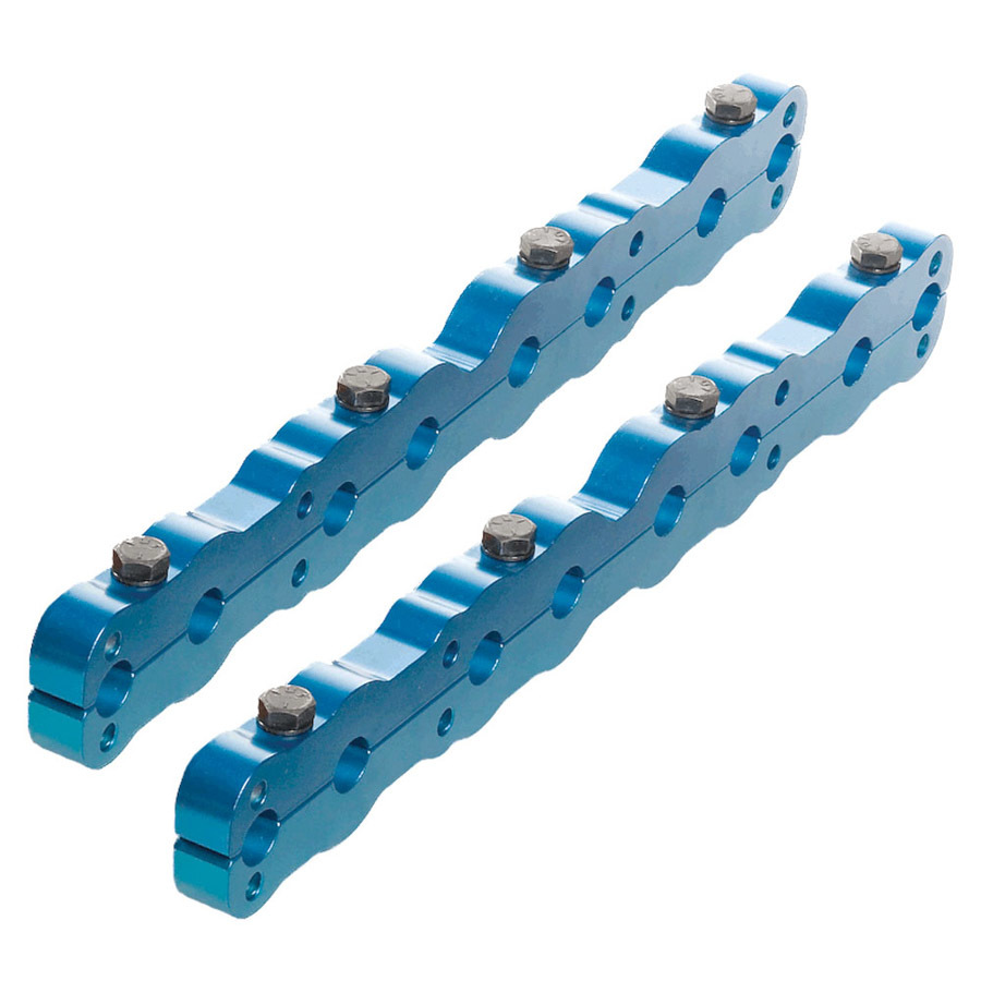 Air Flow Research 6207 Rocker Arm Stud Girdle, Aluminum, Blue Anodized, Small Block Ford, Pair
