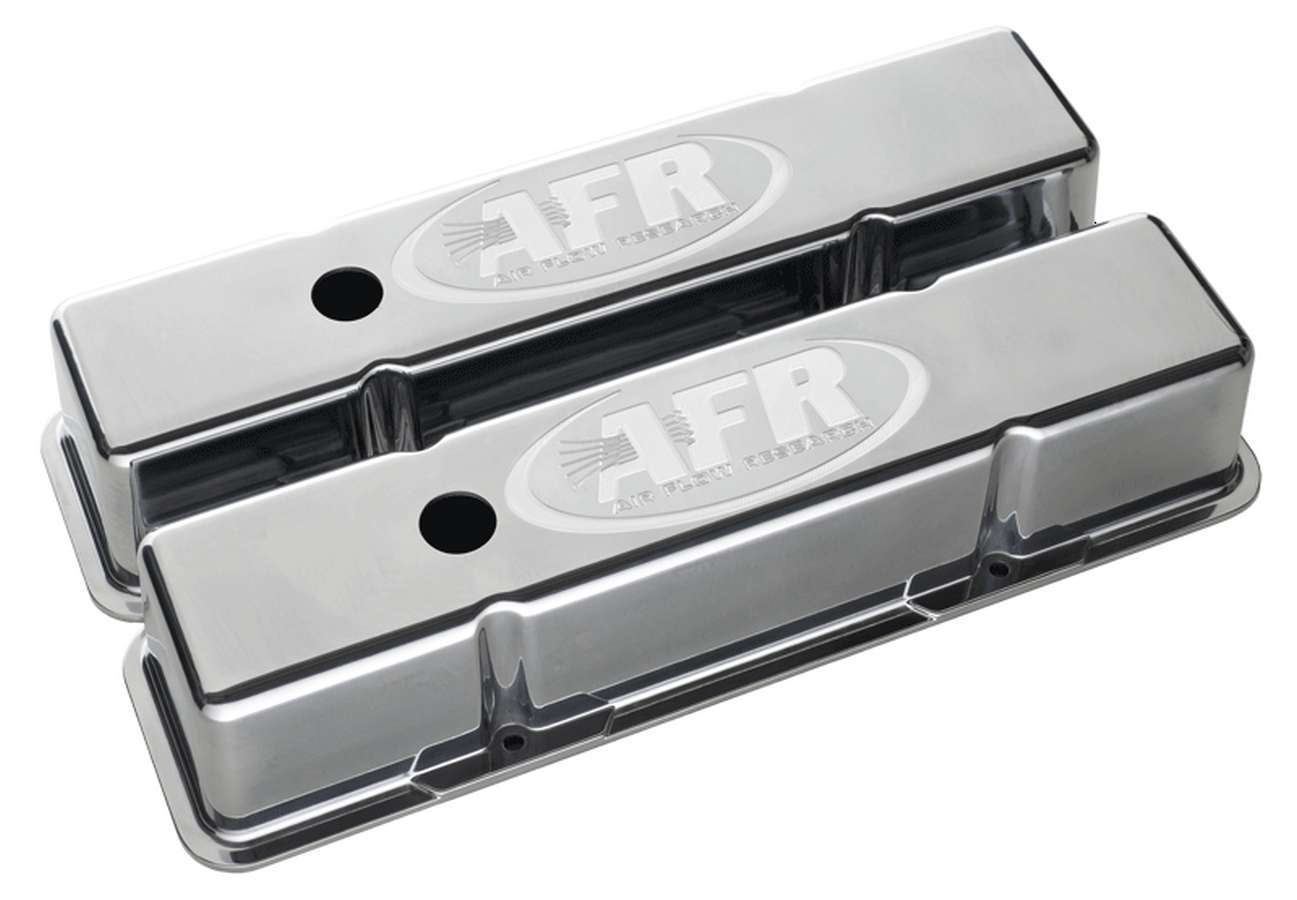 Air Flow Research 6704 Valve Cover, Tall, Breather Holes, AFR Logo, Aluminum, Polished, Small Block Chevy, Pair