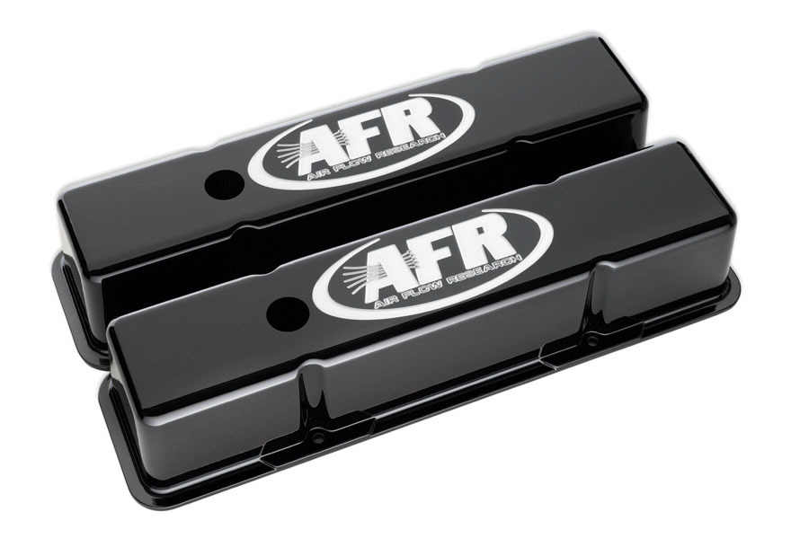 Air Flow Research 6705 Valve Cover, Tall, Breather Holes, AFR Logo, Aluminum, Black Powder Coat, Small Block Chevy, Pair