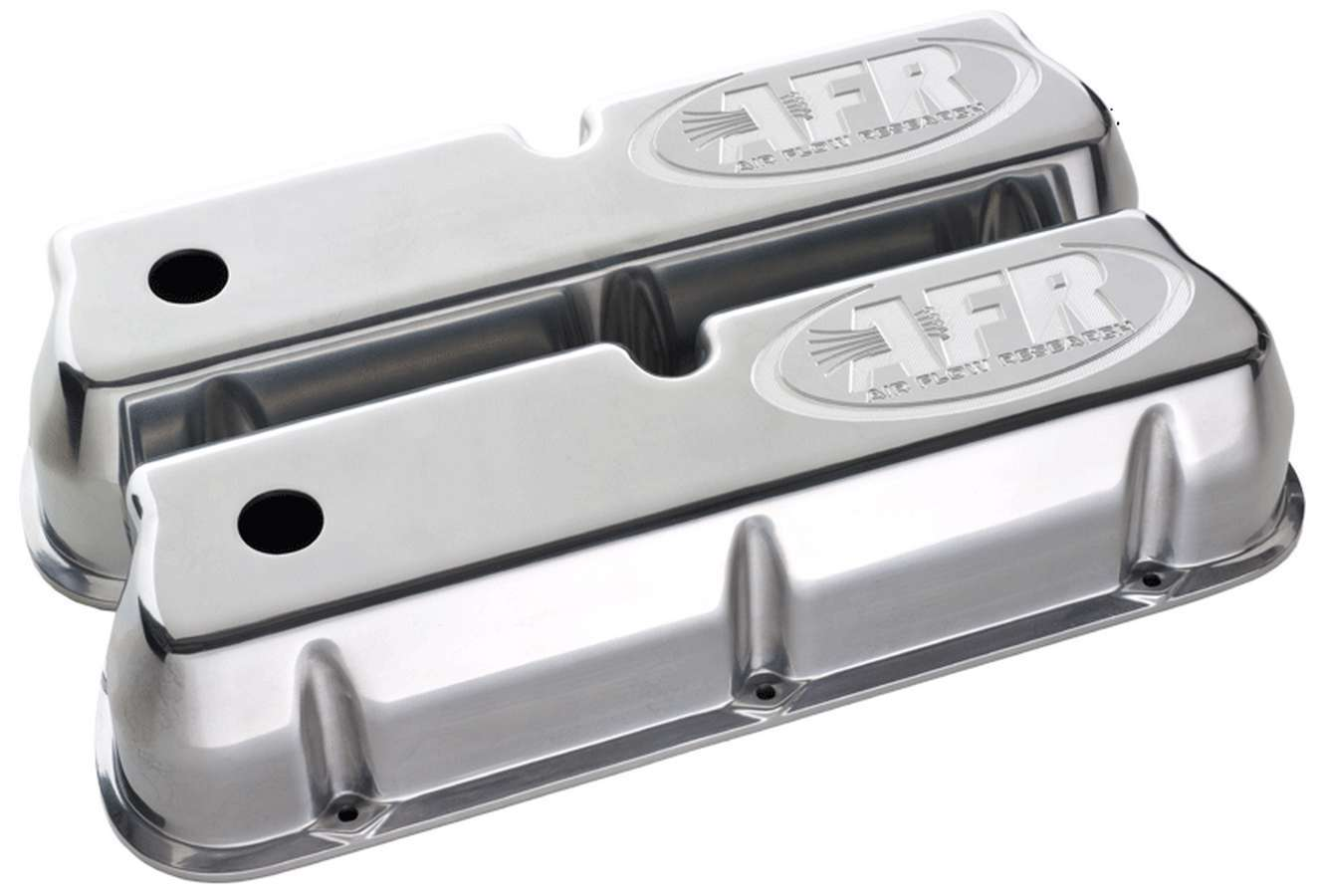 Air Flow Research 6714 Valve Cover, Tall, Breather Holes, AFR Logo, Aluminum, Polished, Small Block Ford, Pair