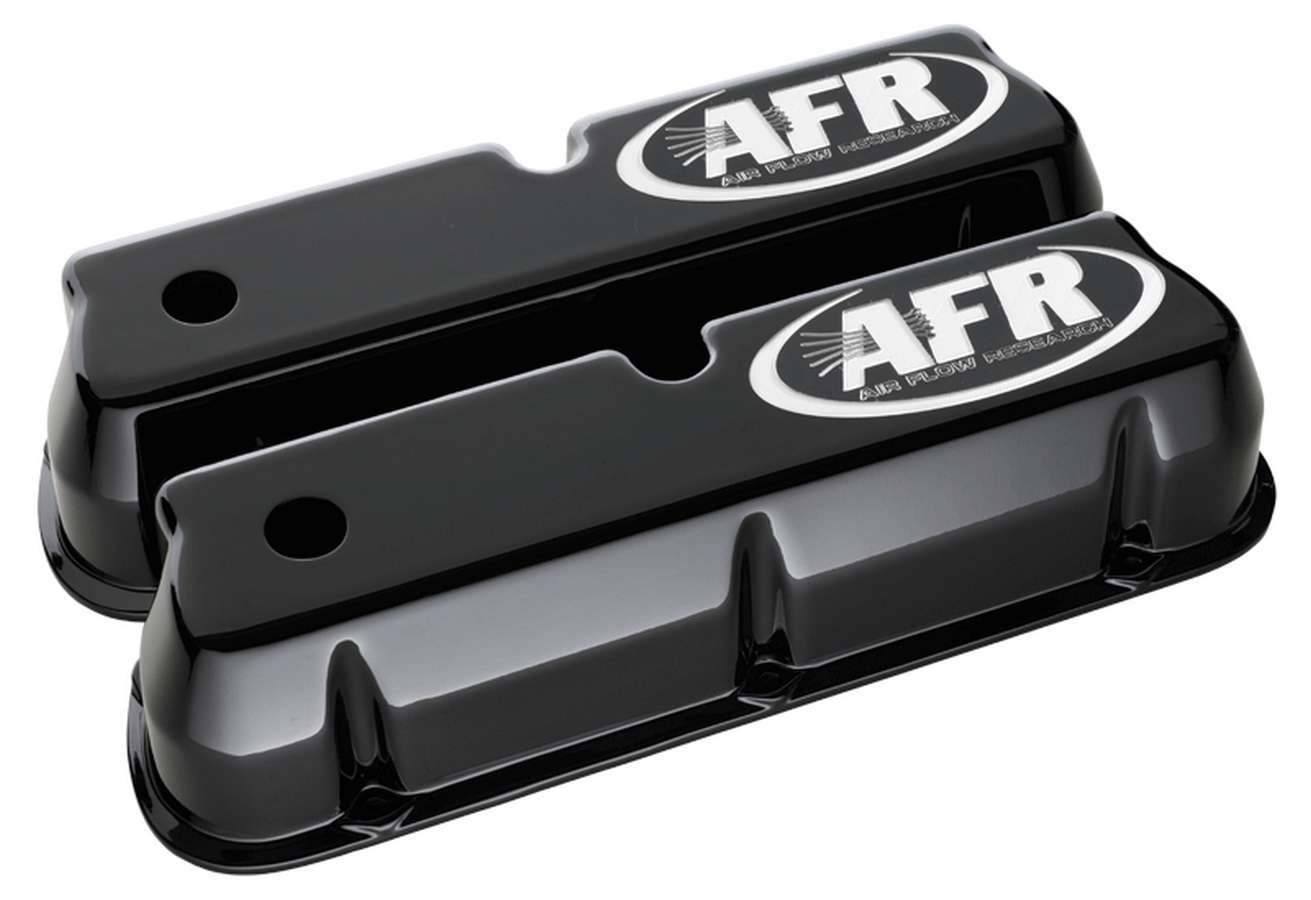Air Flow Research 6715 Valve Cover, Tall, Breather Holes, AFR Logo, Aluminum, Black Powder Coat, Small Block Ford, Pair