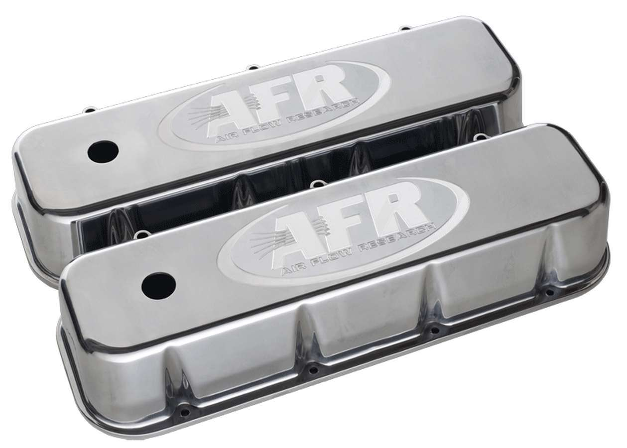 Air Flow Research 6722 Valve Cover, Stock Height, Breather Holes, AFR Logo, Aluminum, Polished, Big Block Chevy, Pair