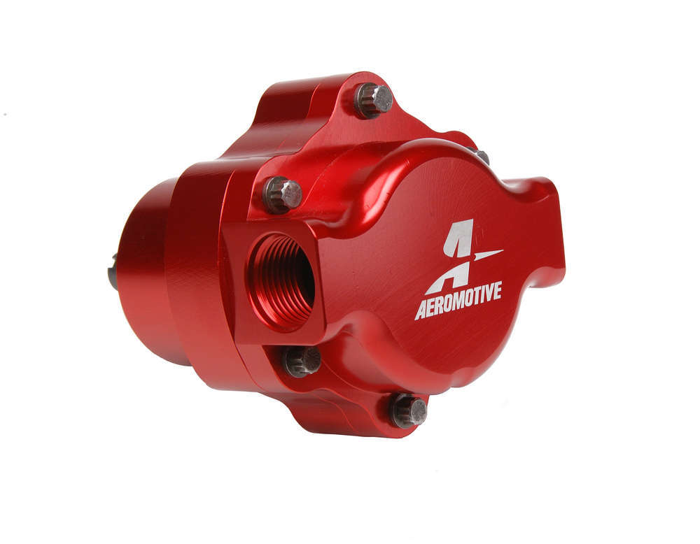 Aeromotive 11105 Fuel Pump, Billet Belt Drive, Belt Driven, In-Line, 10 AN Inlet, 10 AN Outlet, Red, E85 / Gas / Diesel, Each