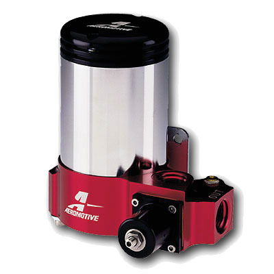 Aeromotive 11202 Fuel Pump, A2000 Carbureted, Electric, In-Line, 350 gph Free Flow, 10 AN Inlet, 10 AN Outlet, External Bypass, Chrome, E85 / Gas, Each