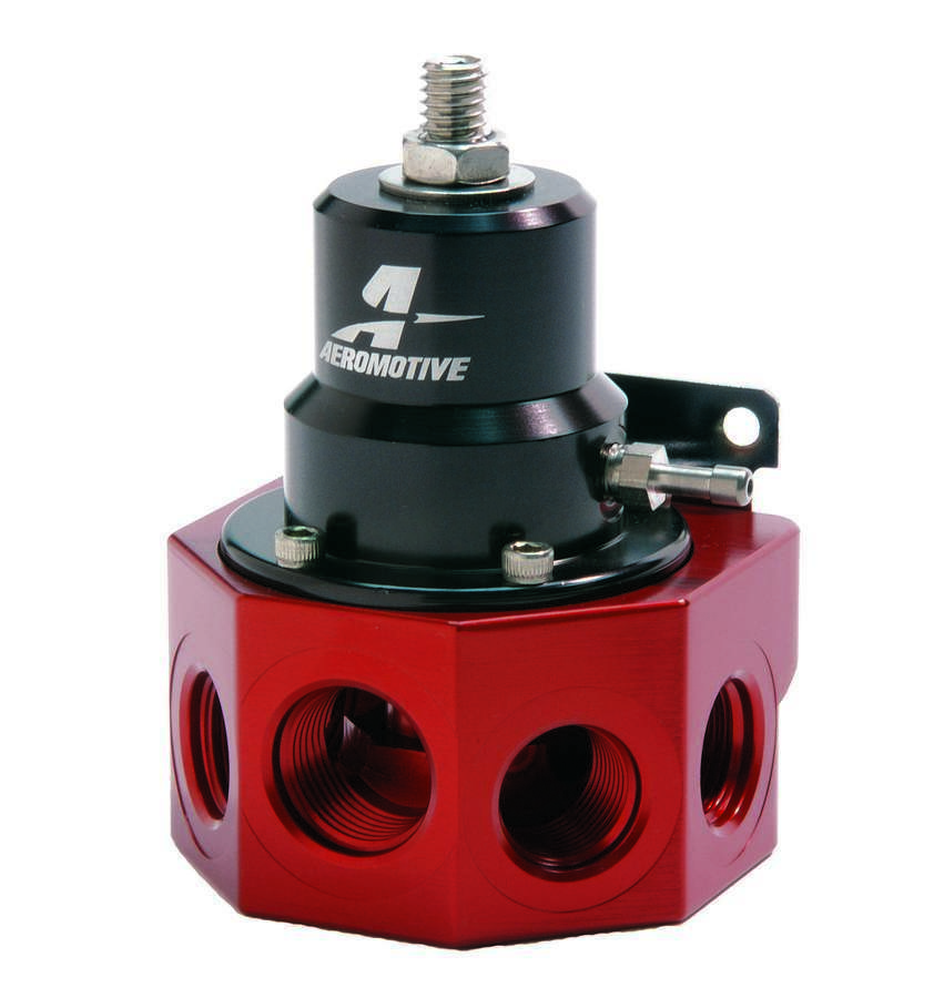 Aeromotive 13202 Fuel Pressure Regulator, A2000, 2 to 20 psi, In-Line, 10 AN Female O-Ring Inlet, Four 8 AN Female O-Ring Outlets, 10 AN O-Ring Return, Black / Red Anodize, E85 / Gas / Diesel, Each