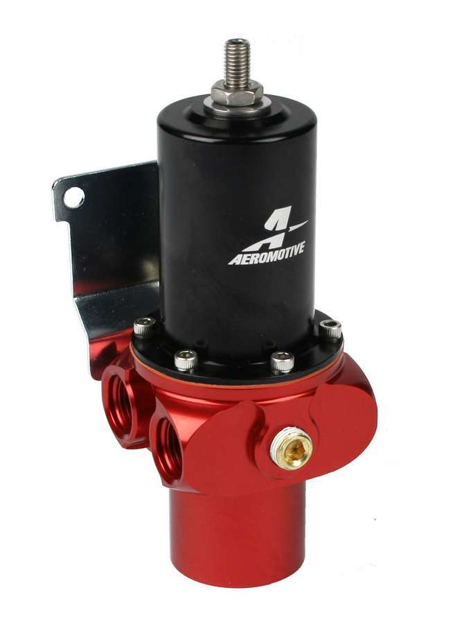 Aeromotive 13208 Fuel Pressure Regulator, Pro-Stock, 4 to 8 psi, In-Line, 12 AN Female O-Ring Inlet, Four 6 AN Female O-Ring Outlets, 1/8 in NPT Port, Black / Red Anodize, E85 / Gas / Diesel, Each