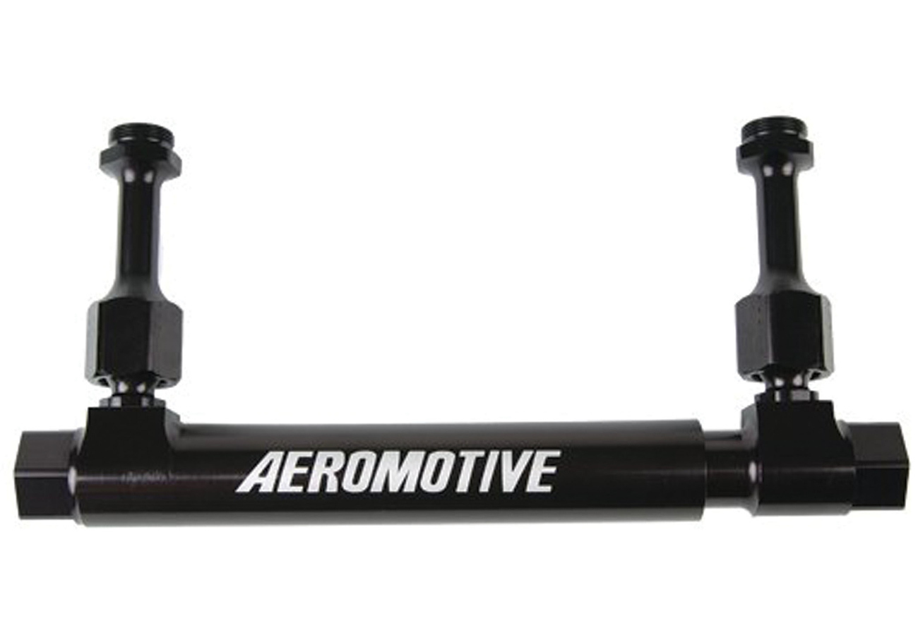 Aeromotive 14201 Fuel Log, Adjustable, 10 AN Female Inlet, 10 AN Female Outlet, Aluminum, Black Anodize, Holley Carburetors, Each
