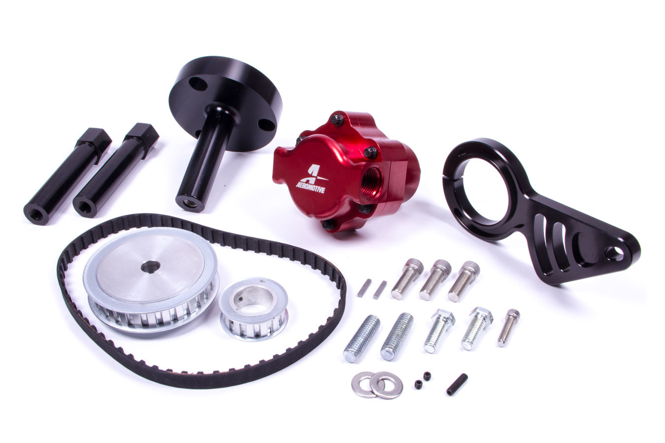 Aeromotive 17241 Fuel Pump, Billet Belt Drive, Belt or Hex Driven, In-Line, 10 AN Female O-Ring Inlet / Outlet, Red, Bracket / Pulley / Belt Included, Big Block Chevy, Kit