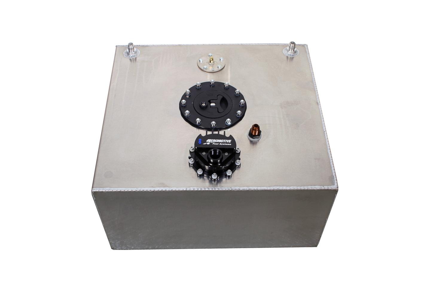 Aeromotive 18360 Fuel Cell and Pump, A1000 Brushless Fuel Cell, 15 gal, 20 x 18 x 10 in Tall, 10 AN O-Ring Outlet, 8 AN Return, 8 AN Vent, Aluminum, Natural, E85 / Gas, Universal, Each