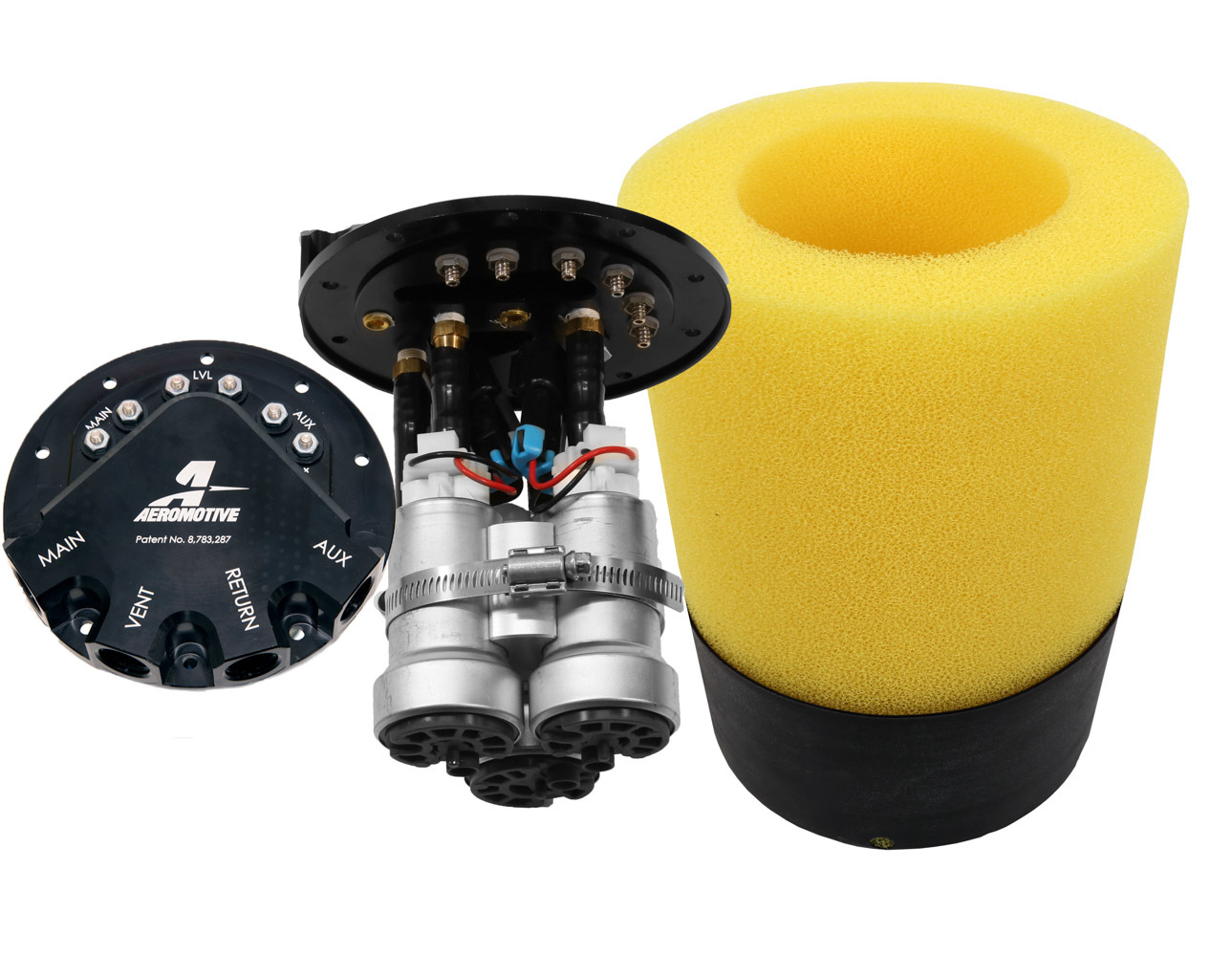 Aeromotive 18364 Fuel Pump, Phantom, Electric, In-Tank, 450 lph at 45 psi, Triple Pump, Center Filter Sock Inlet, 8 AN Outlet / Return / Vent, Install Kit, Gas, GM Fullsize Truck 2005-17, Kit