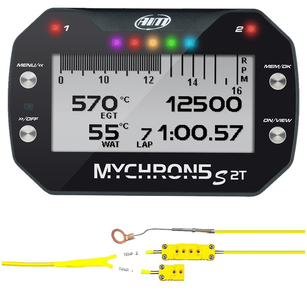 AIM Sports XD1M5SCHT140U Data Logger, MyChron5s, Cylinder Head Temperature Sensor Included, Kit