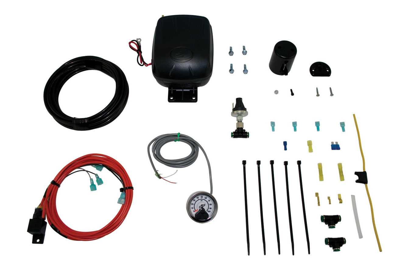 Air Lift 25850 Air Compressor, Load Controller Single, Suspension, 100 psi Max, 12V, Single Gauge, Controls / Pressure Sensor, Airlift Air Spring Kits, Kit